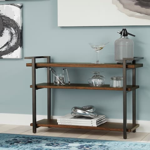 Wood and Metal 3-shelf Console Table