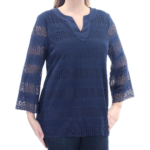 CHARTER CLUB Womens Navy Embroidered 3/4 Sleeve V Neck Top Size: L