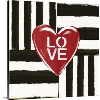 """Black and White Stripe Love"" Canvas Wall Art"