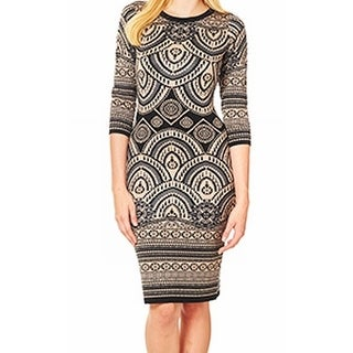 Taylor NEW Brown Gray Women's Size Large L Printed Sweater Dress
