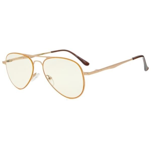 Eyekepper Quality Spring Temples Computer Glasses Pilot Style Readers Eyeglasses(Gold/Amber Tinted Lens,+2.5)