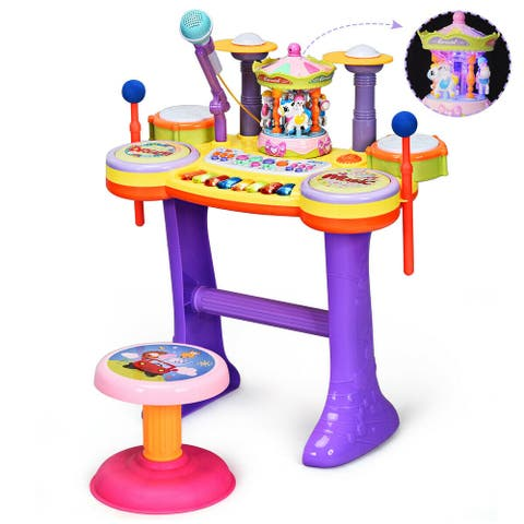 Costway 3in1 Kid Musical Instrument Piano Keyboard Drum Set w/Carousel - see details