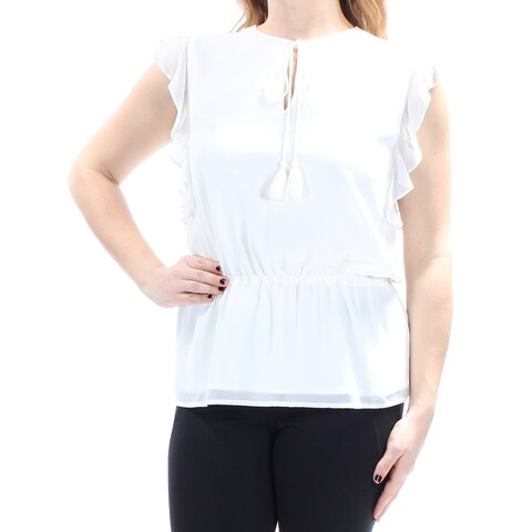 CYNTHIA ROWLEY Womens Ivory Sleeveless V Neck Peplum Wear To Work Top Size: L