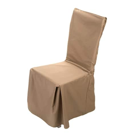 Twill Solid Full Length Dining Room Chair Tan Cotton Slipcover