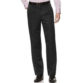 Kenneth Cole Reaction Textured Stria Flat Front Dress Pants Black