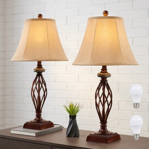 27.5 in. Traditional Table Lamp Set of 2, Bronze - 27.5'' H