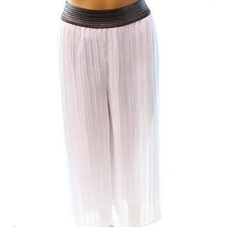 Alfani NEW White Women's Size Large L Pleated Wide Leg Pull On Pants