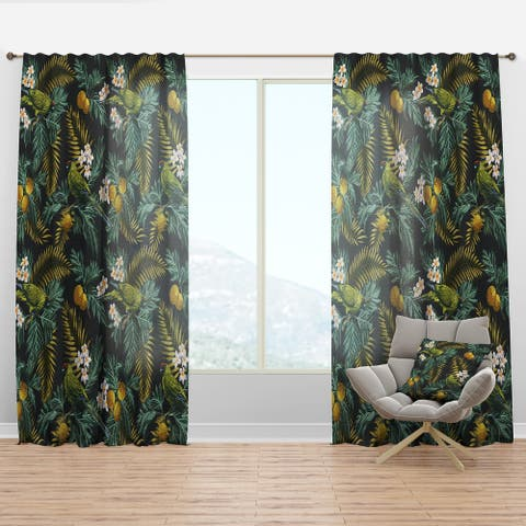 Designart 'Tropical Leaves with Lemons and Green Bird' Animals Curtain Panel