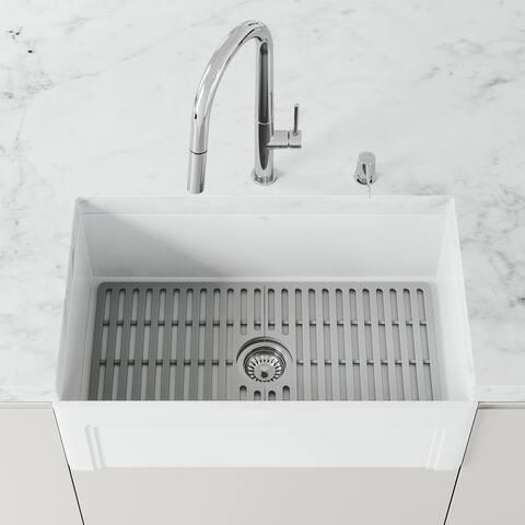 Matte Stone 30 in x 18 in Single Basin Farmhouse Kitchen Sink Set