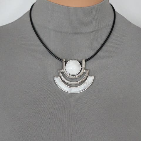 Handmade Jewelry by Dawn Faux Marble Pendant & Black Leather Necklace - white.silver.black