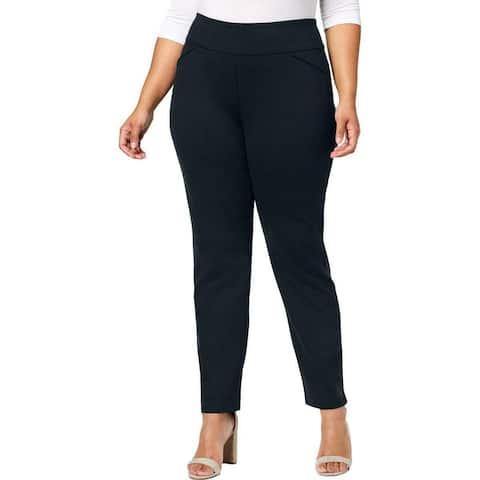 Charter Club Women Dress Pants Blue Size 24W Plus Tummy Slimming Stretch