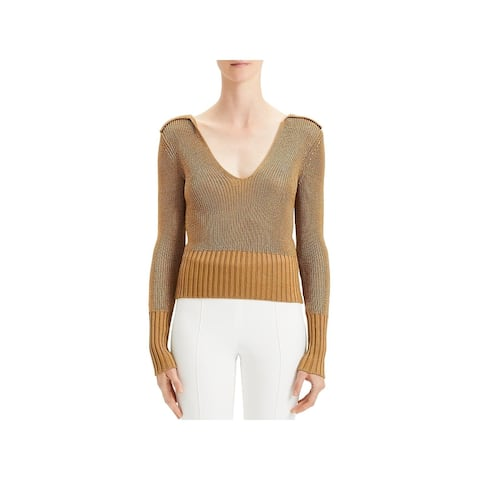Theory Womens V-Neck Sweater Collared Lightweight - Toffee