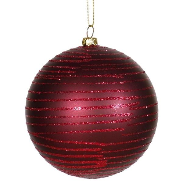 "Burgundy Glitter Striped Shatterproof Christmas Ball Ornament 4"" (100mm) - RED"