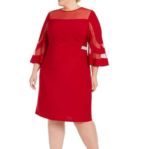 R&M Richards Women's Dress Red Size 18W Plus Sheath Illusion Sleeve