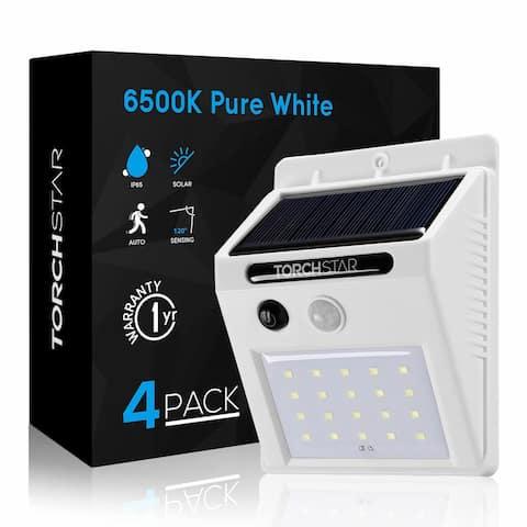 4 Pack 20 LED Solar Powered Outdoor Wall Lighting, Motion Sensor, White