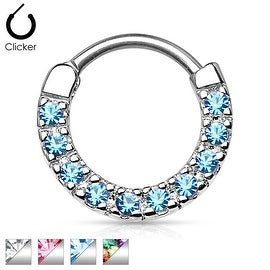 Ten Paved Gem Single Line 316L Surgical Steel Septum Clicker (Sold Indiv.)
