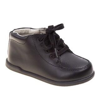 Smart Step Boys Black Lace Up Closure Wide Width Walking Shoes
