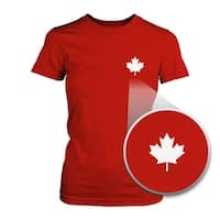 Canada Flag Pocket Print Red Shirts Cute Women's Round Neck Tees for Canadian