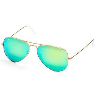Ray-Ban Aviator RB3025 Unisex Gold Frame Green Mirror Lens Sunglasses