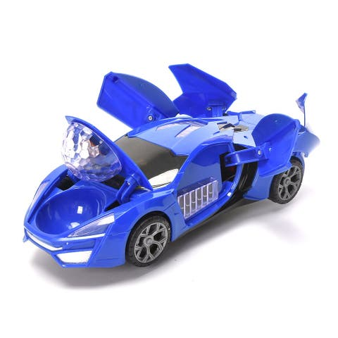 WonderPlay SDR Super Racing Car BO Car with Lights & Music It Rotates 360° Degrees + Blue