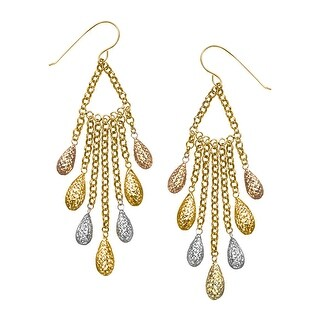 Just Gold Chandelier Earrings in 14K Three-Tone Gold