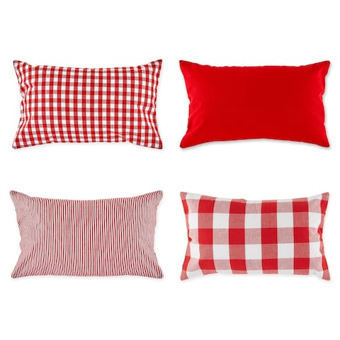 """Set of 4 Red Cotton Pillow Cover 20"""" - other-size"""