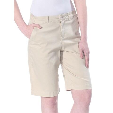 NYDJ Womens Beige Pocketed Khaki Bermuda Short Size: 2