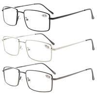 Eyekepper 3-pack Rectangular Spring Temple Medium Reading Glasses+3.5