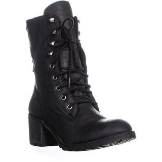 AR35 Zack Lace Up Block Heel Combat Boots, Black