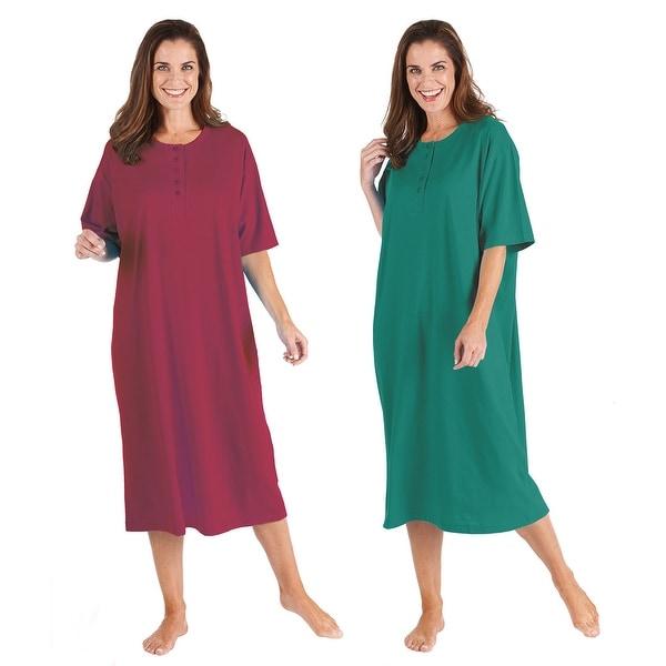 b0cd692a555 Catalog Classics Women  x27 s Long Henley Nightshirts - Set of 2 Pajama  Sleep