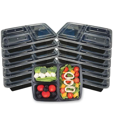 Premius 3 Compartment Meal Prep Food Containers, 4 Cups, 10-Pack