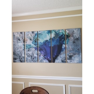 Ready2HangArt 5-Piece 'Painted Petals LX' Canvas Art Set - Blue