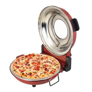 Kalorik Hot Stone Pizza Oven - Countertop Pizza Pie Baker with Adjustable Temperature - Cutter and Paddles Included