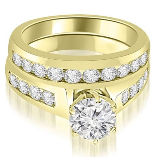 2.15 cttw. 14K Yellow Gold Channel Set Round Cut Diamond Bridal Set