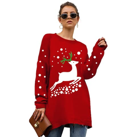 Haute Edition Christmas Tunic Length Crew Neck Pullover Thick Knit Sweater