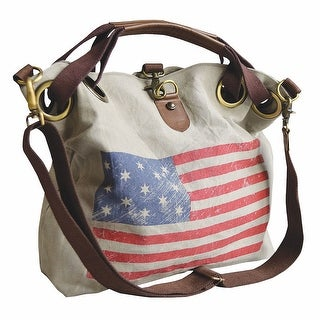 Women's Weathered American Flag Cotton Tote Bag - Medium