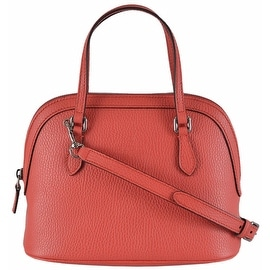 Gucci 341504 Coral Red Textured Leather Convertible Mini Dome Purse