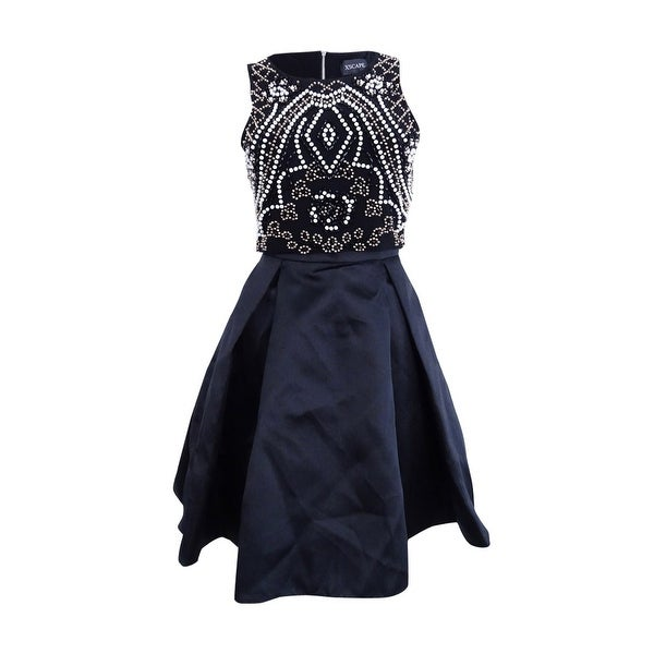 Shop Xscape Women S Two Piece Beaded Fit Amp Flare Dress 4