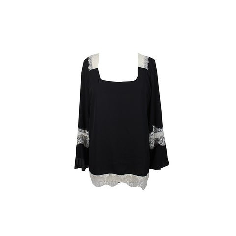 Ny Collection Black Lace-Trim Peasant Blouse M