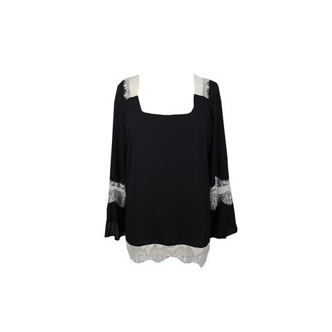 Ny Collection Black Lace-Trim Peasant Blouse XL