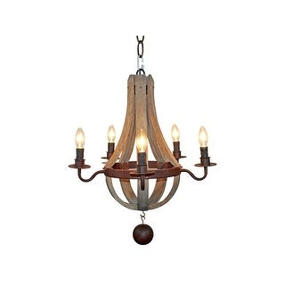 Farmhouse 5-Light Distressed Wood Chandelier for Dining Room