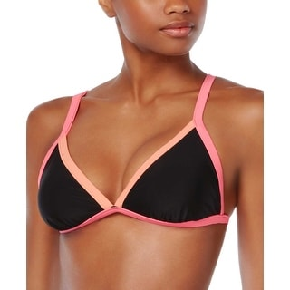 Bikini Nation Womens Colorblock Triangle Bikini Top Black and Pink Small S