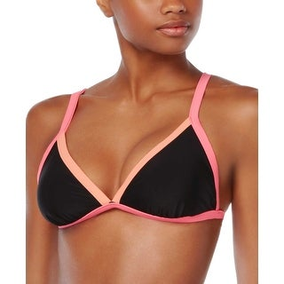 Bikini Nation Juniors Colorblock Triangle Bikini Top Black and Pink Small S