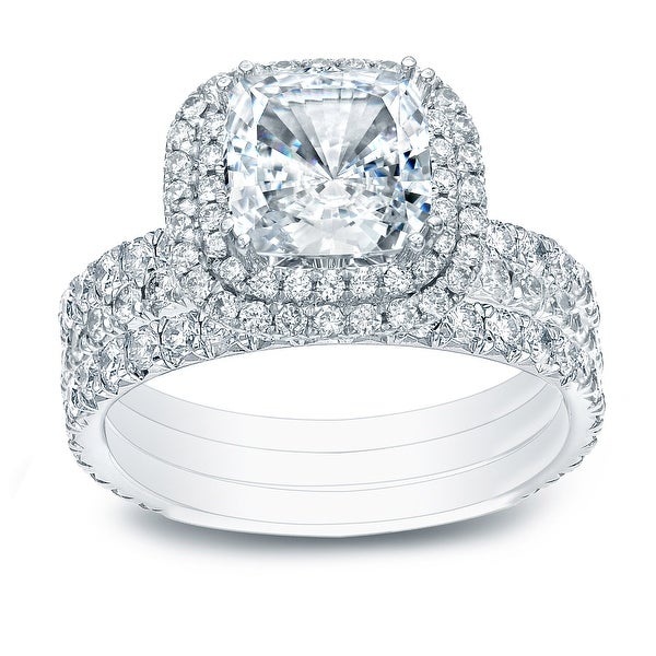Auriya 2 1/2ctw Cushion-cut Halo Diamond Engagement Ring 3pc Set 14k Gold. Opens flyout.