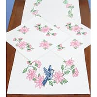 Birds - Stamped Dresser Scarf & Doilies Perle Edge