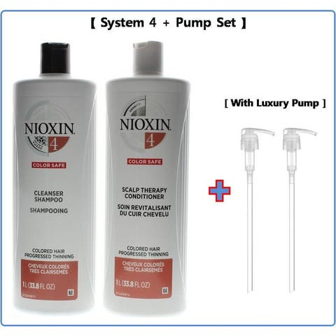 Nioxin System 4 Shampoo & Conditioner Liter Duo & 2 Luxury pumps - Clear