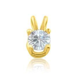 14K Yellow Gold Diamond Solitaire Pendant 1/2ct Round Diamond 8mm Tall(i2/i3, j/k) By MidwestJewellery - White