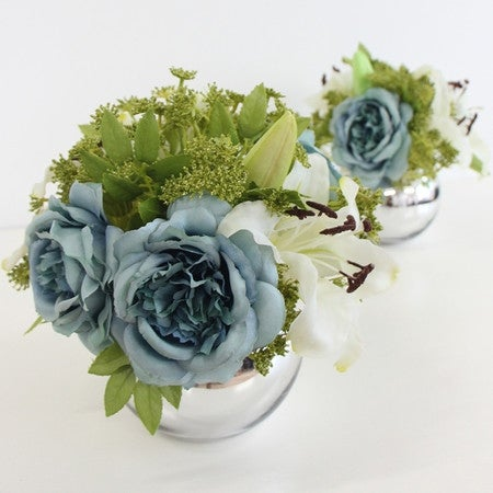 G Home Collection Luxury Blue Rose and White Madonna Lily Flower Arrangement