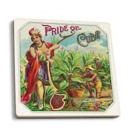 Pride of Cuba Brand Cigar - Vintage Label (Set of 4 Ceramic Coasters)