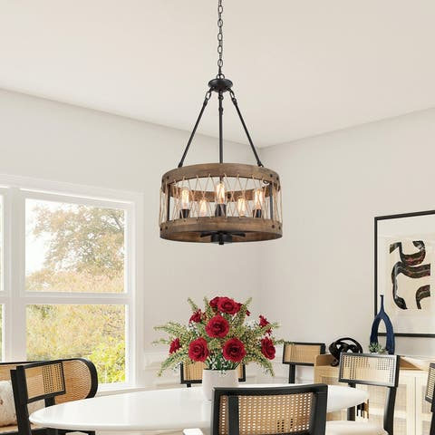 Modern Farmhouse 5-light Wood Drum Chandelier Metal Cage for Dining Room